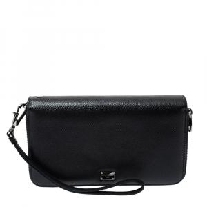 Dolce & Gabbana Black Saffiano Leather Double Zip Wrist Clutch