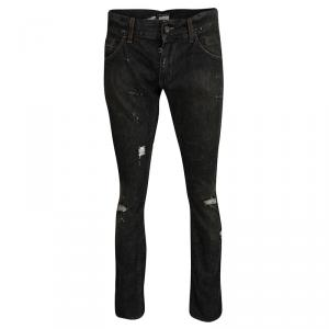 Dolce and Gabbana 14 Gold Grey Faded Effect Distressed Denim Jeans M