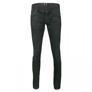 Dolce and Gabbana 14 Gold Black Faded Effect Denim Straight Fit Jeans S