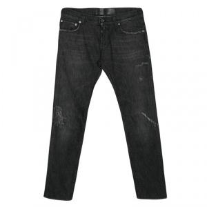 Dolce and Gabbana Dark Grey Faded Effect Denim Distressed Jeans M