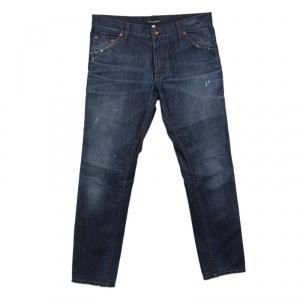 Dolce and Gabbana Indigo Dark Wash Faded Effect Distressed Denim Jeans M