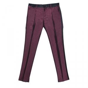 Dolce and Gabbana Burgundy Metallic Jacquard Satin Trim Tuxedo Trousers S