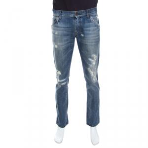 Dolce & Gabbana 14 Gold Indigo Light Wash Denim Distressed Straight Jeans M