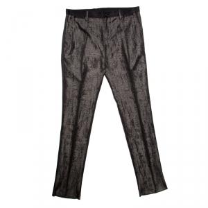 Dolce and Gabbana Grey Metallic Jacquard Satin Trim Tuxedo Trousers M