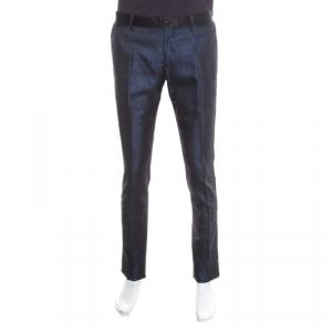 Dolce and Gabbana Navy Blue Metallic Jacquard Satin Trim Trousers M