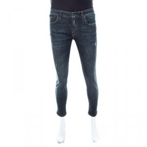 Dolce and Gabbana 16 Stretch Indigo Faded Effect Denim Distressed Skinny Jeans S
