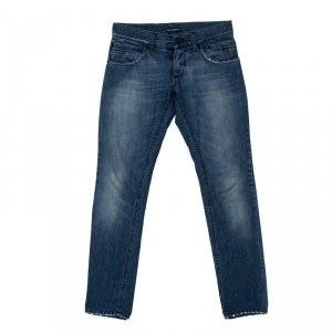 Dolce And Gabbana Blue Denim Medium Wash Distressed Pocket Detail Regular Fit Jeans S