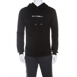 Dolce and Gabbana Black Logo Embroidered Cotton Hoodie XS