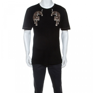 Dolce and Gabbana Black Silk Blend Leopard Embroidery T-Shirt S