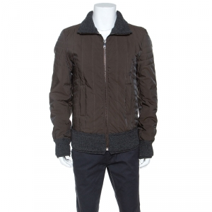 Dolce and Gabbana Brown Double Wool Rib Trim Jacket M
