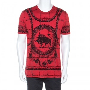 Dolce and Gabbana Graphic Printed Cotton Crew Neck T-Shirt L