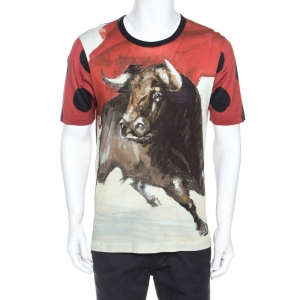 Dolce and Gabbana Red Bull Print Cotton Crew Neck T-Shirt M
