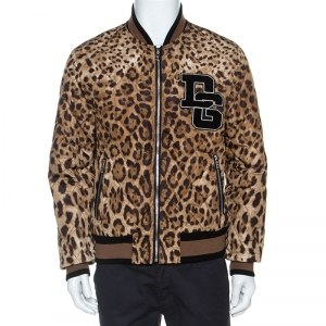 Dolce & Gabbana Brown Leopard Print Quilted Bomber Jacket L