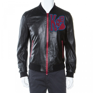 Dolce and Gabbana Black Leather Patch Detail Bomber Jacket L