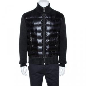 Dolce & Gabbana Black Quilted Rib Knit Trim Bomber Jacket L