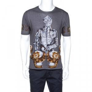 Dolce & Gabbana Grey Knight Print Cotton Crew Neck T-Shirt S