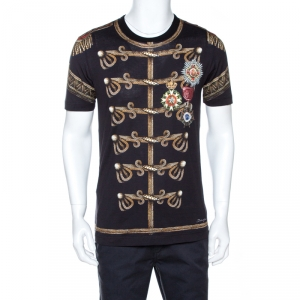 Dolce & Gabbana Black Military Print Cotton T-Shirt M