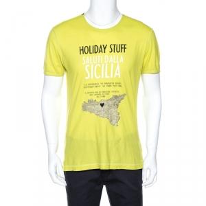 Dolce & Gabbana Lime Green Sicily Print Cotton T-Shirt M
