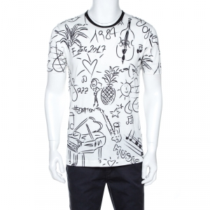Dolce & Gabbana White Musical Scribbles Print Cotton T-Shirt L