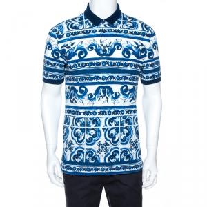 Dolce & Gabbana Blue Majolica Print Cotton Polo T-Shirt M