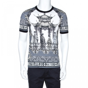 Dolce & Gabbana Grey Chinese Temple Print Cotton T-Shirt M