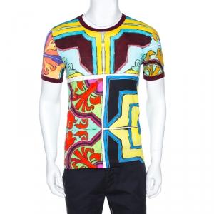 Dolce & Gabbana Multicolor Print Cotton Crew Neck T-Shirt M