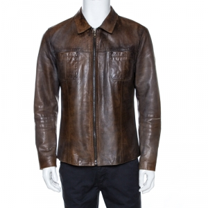 Dolce & Gabbana Brown Burnished Leather Jacket XL
