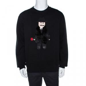 Dolce & Gabbana Black Sicilian Man Patch Crew Neck Sweatshirt M