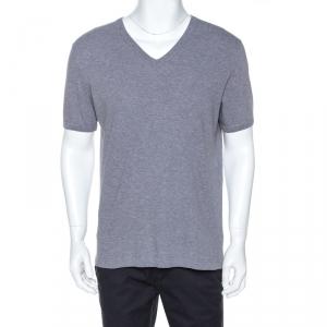 Dolce & Gabbana Grey Cotton V Neck T-Shirt XL
