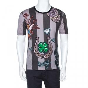 Dolce & Gabbana Grey Striped Print Cotton Crew Neck T-Shirt M