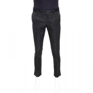 Dolce & Gabbana Black Cotton Blend Jacquard Tailored Pants M