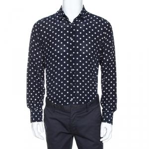 Dolce & Gabbana Navy Blue Polka Dot Silk Long Sleeve Shirt M