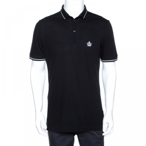 Dolce & Gabbana Black Crown Embroidered Cotton Polo T-Shirt L