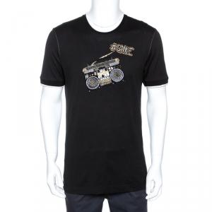 Dolce & Gabbana Black Smile Embellished Cotton T-Shirt XL