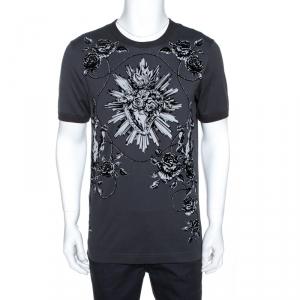 Dolce & Gabbana Grey Sacred Heart Flock Print Cotton T-Shirt L