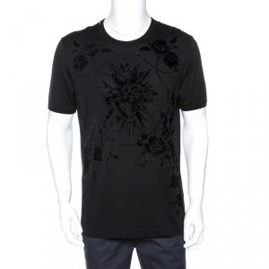 Dolce & Gabbana Black Sacred Heart Flock Print Cotton T-Shirt L