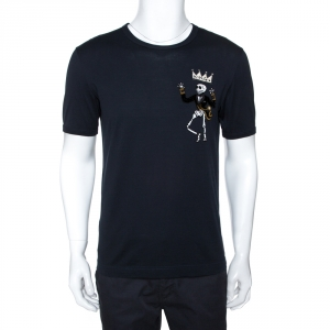 Dolce & Gabbana Black Cotton King Skeleton Appliqued T-shirt M