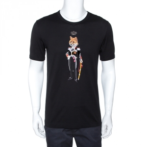 Dolce & Gabbana Black Cotton Fox Colonel Appliqued T-Shirt M