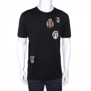 Dolce & Gabbana Black Cotton Crest Patch Applique T-Shirt XXL