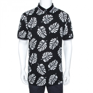 Dolce & Gabbana Monochrome Leaf Print Cotton Polo T-Shirt XXL