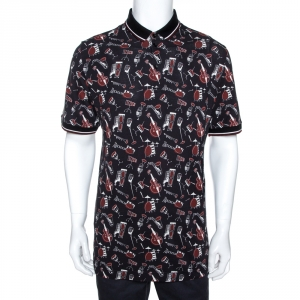 Dolce & Gabbana Black Jazz Club Print Cotton Polo T-Shirt XXL