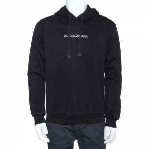 Dolce & Gabbana Black Logo Embroidered Cotton Hoodie L