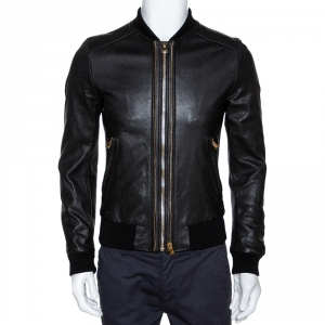 Dolce & Gabbana Black Leather Zip Front Bomber Jacket S