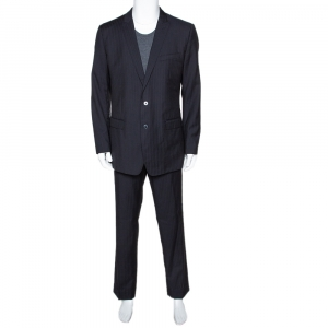 Dolce & Gabbana Black Striped Wool Tailored Suit XXL