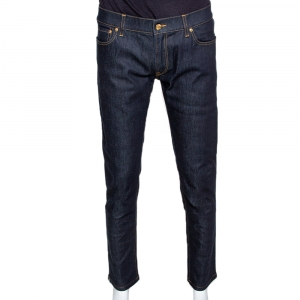 Dolce & Gabbana Dark Blue Stretch Denim Regular Fit Jeans L