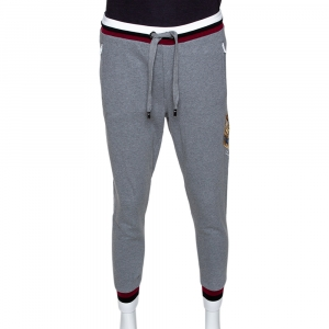 Dolce & Gabbana Grey Knit  Embroidered Crown Detail Track Pants S