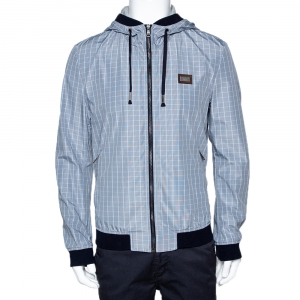 Dolce & Gabbana Pale Blue Checked Zip Front Hooded Jacket L