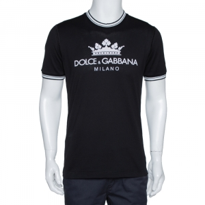 Dolce & Gabbana Black Logo Print Cotton Crew Neck T-Shirt M