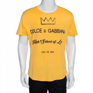 Dolce & Gabbana Yellow Cotton High School of Love Print T Shirt S