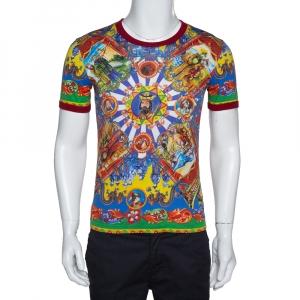 Dolce & Gabbana Multicolor Caretto Siciliano Print Cotton T-Shirt XS